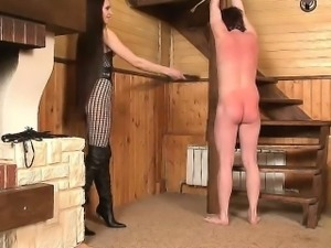 Submissive guy Whipped by Hot Mistress