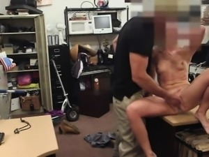 Tight amateur blond bimbo flashes and nailed at the pawnshop