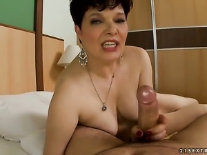 Brunette Goldee is a blowjob addict who loves guys rock hard tool