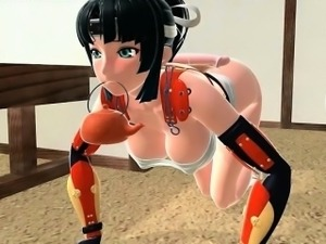 Anime horny cutie using fuck machine to reach orgasm
