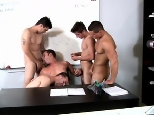 Young gay jocks sucking dick in the classroom