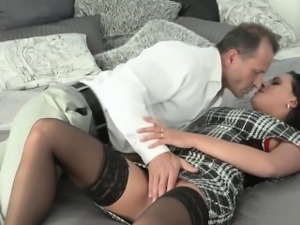 Brunette mature lady in stockings fucking