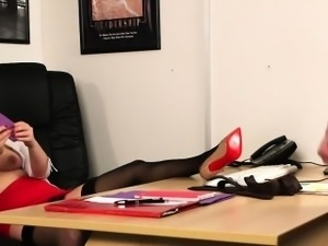 Busty clothed office babe