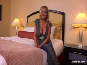 Hot busty MILF does first porn for MomPov free