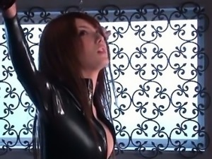 Hot jap mistress in black latex used as sex slave and banged