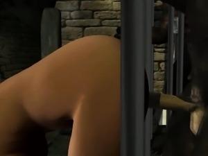 Hot 3D cartoon brunette babe fucked by a werewolf