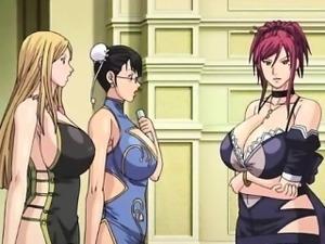 Bigboobs anime maids gangbang by her boss