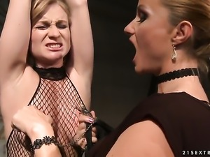 Blonde Katy Parker with big breasts makes her lesbian dreams a come true with...