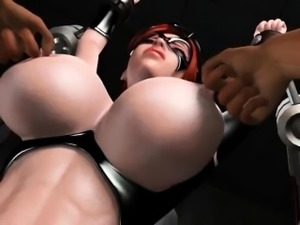 Anime sex slave in huge boobs gets nipples pinched