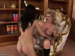Brunette Alesya with gigantic boobs is hungry for lesbian sex and gets used...