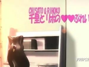 3D hentai lesbians sharing a dildo