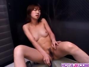 Koyuki Kishide dildos her hairy cunt for you
