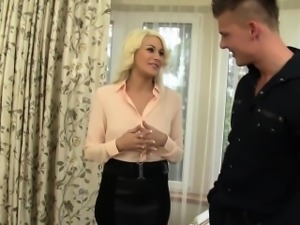 Blonde chick pissed on