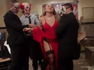 lady in red dress gets gang banged