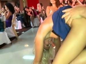 European babe fucking stripper at a party