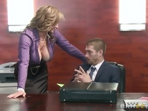 latina with luscious titties plays naughty at work