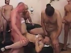 Grandma Having Fun In This Gang Bang