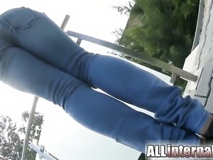 Athina gets some cumshot into her pussy