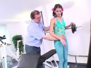 Smalltitted eurobabe fucked by old dude in gym