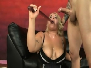 Chubby girl mouth fucked for a donut