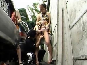 Japanese pervs swap each others girlfriends in public