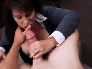 Busty Milf fucks pawnkeeper for cash to bail out her hubby