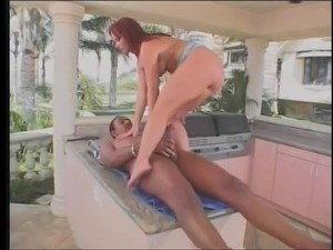 Redhead gets black cock in her anal and then facial cumshot