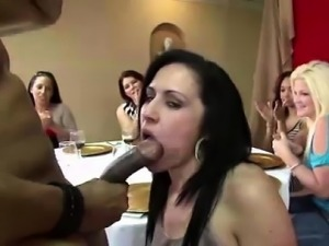 Amateur CFNM babes sucking stripper cock at party