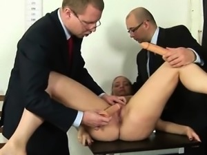 Kinky duble dildo test for a secretary