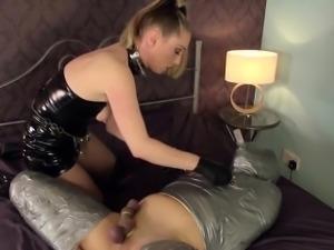 Brit bdsm mistress sticks fingers up subs ass
