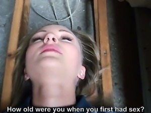 Sexy Hungarian amateur takes of her clothes and then gives a blow job in a...