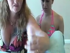 Mom And Teen Milk Off This Young Guy\'s Thick Rod