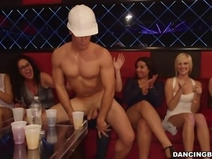 slutty ladies suck a stripper's cock