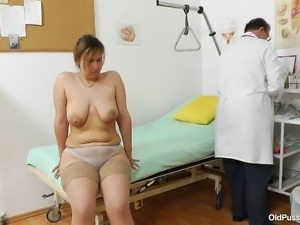 the doctor examines her sweet cunt