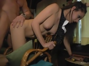 brunette bitch gets fucked publicly