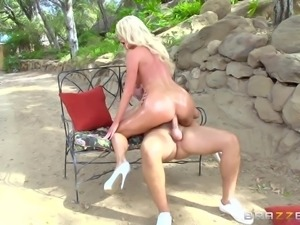 busty whore sucking cock outside