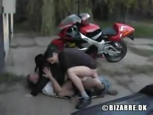 Soft-skinned biker girl makes two dirty guys' sexual fantasies real