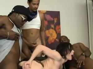 Jennifer White interracial DP action with black dudes