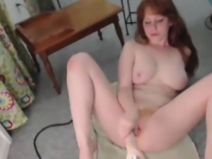 Brunette amateur fucks the machine