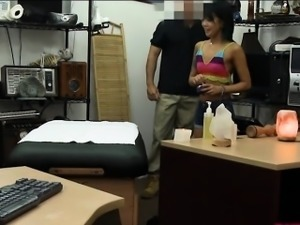 Asian beauty nailed by pervert pawn man in the back office