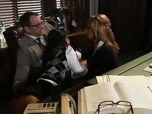 Office threesome with Kirsten and Asa