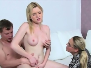 Blonde female agent interviews couple