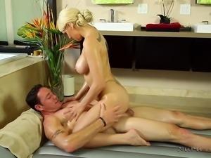 seductive blonde lady offers kinky massage