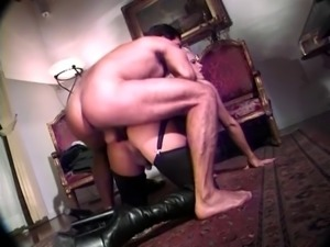 Hot blonde tranny takes a stiff cock and cumshot