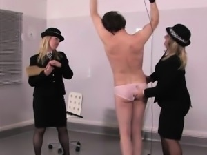 Police mistresses paddling their sissy sub