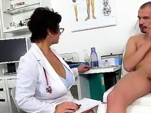Dirty czech cougar Gabina is naughty doctor in cfnm action