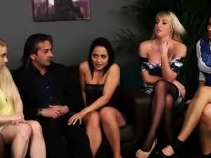 Five Clothed Babes Sucking One Cock