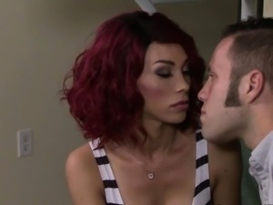 Seductive redhead tgirl tastes her lovers rod