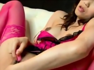 Little toy makes Japanese babe squeal like horny bitch
