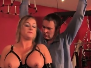 Chubby british dominatrix in cbt fun for sub